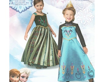 Girls Frozen Costume Pattern - Elsa or Anna Princess Dress Sewing Pattern - Simplicity 1222 - Toddler and Girl Sizes 3 4 5 6 7 8 - UNCUT