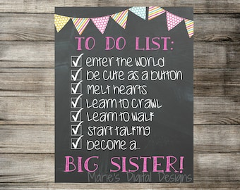 INSTANT DOWNLOAD - Chalkboard Pregnancy Announcement / Printable Photo Prop - To Do List - Sister / Baby Reveal / Digital Download
