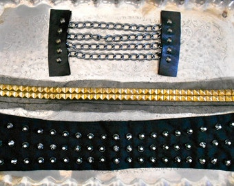 Black Studded Chain Pieces