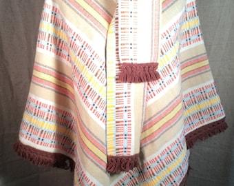 Vintage poncho wrap neutral colors medium small 80s