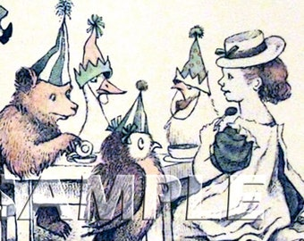 Celebrate With Friends - ADHESIVE Bookplates - Forest animals - Little Girl - Tea party - Bookplate - Vintage Art
