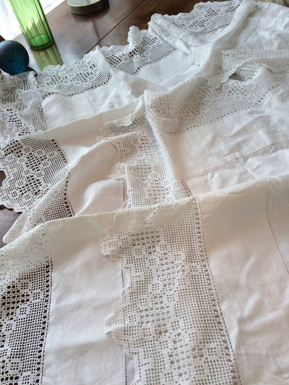 54 ins square large crochet edged tablecloth. Vintage. Strong. Quality