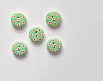 Green and Red Polka Dot Button - 2 Hole Button for Scrapbooking, Card Making, Crafts, Sewing Buttons - Shankless Buttons - Round Button