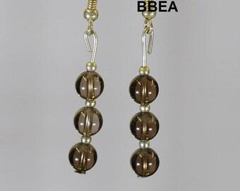 Earrings smoky quartz, stone of addiction, beads, 3x6mm.