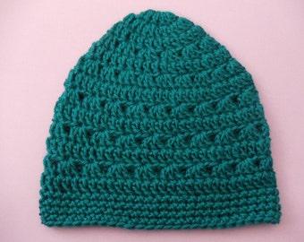 Teal Blue Crochet Beanie Medium Weight Beanie Blue Green Crocheted Hat Womens Beanie Teen Girls Beanie Hat Womens Hat