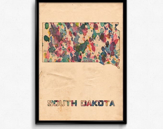 South Dakota Map Poster Watercolor Print - Fine Art Digital Painting, Multiple Sizes - 12x18 to 24x36 - Vintage Paper Colors Style