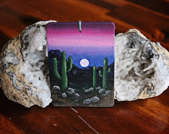 Mini Acrylic Painting | Cactus and Mountains in Desert at Dusk