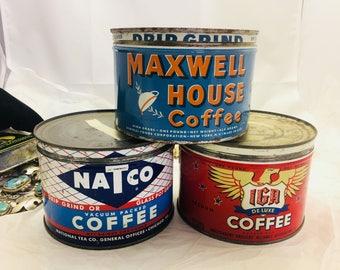 Vintage Advertising 1950's tin litho Advertising one Pound  IGA Deluxe coffee , NATCO Coffee Can Tin- TL34, TL36