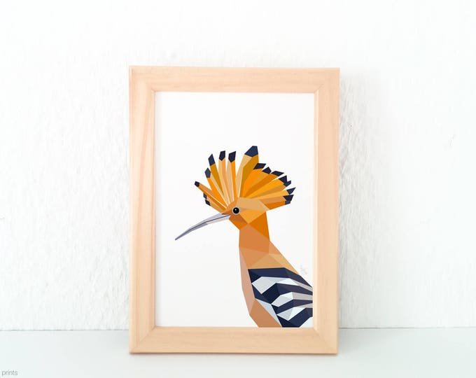 Hoopoe print, Hoopoe bird illustration, Garden birds wall art, Woodland creatures, European wildlife, Geometric Hoopoe art, Hoopoe bird art