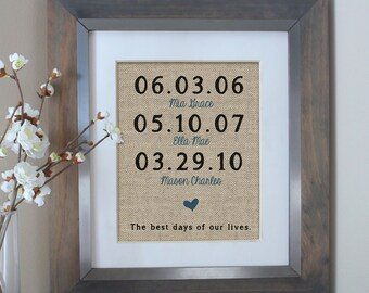 The Best Days of Our Lives Burlap Print | Mother's Day Gift | Childrens Birth Dates | Personalized Family Name Sign | Anniversary Gift