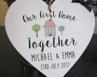 Handmade Our First Home Plaque Wooden Heart Gift Personalised House Warming New Home