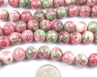 "15"" Round Gemstone Beads-PINK & GREEN Rain Flower Stone 8mm (48)"