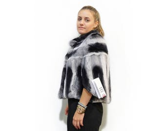 Rex Rabbit Fur Poncho,Bat Sleeve Fur F403