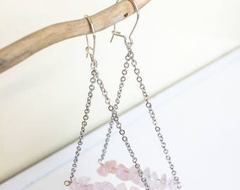 triangle and rose quartz earrings