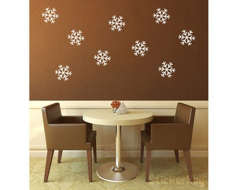 "Snowflakes Vinyl Wall Decal 6"" Graphics Bedroom Home Decor"