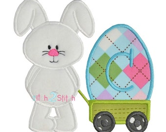 Bunny Wagon Egg applique design for machine embroidery (Words/Font NOT included but sold separately) INSTANT DOWNLOAD now available