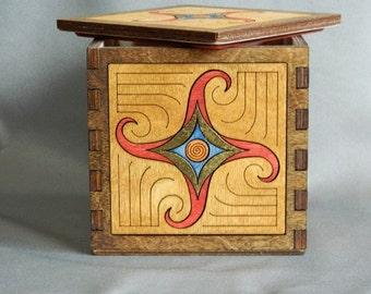 Spiral Inlay Hardwood Box - Celtic Spiral - red, blue, gold, brown, beige - handmade