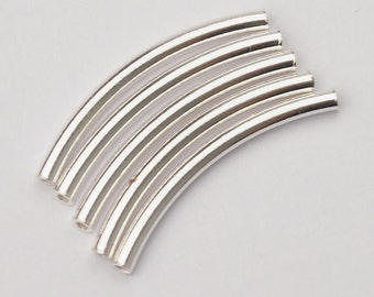 10 of 925 Sterling Silver Curve Beads 2x25 mm. :th0781