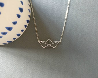 Origami boat. Necklace. Free shipping.