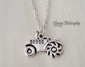 Tractor Necklace - Silver Plated Farm Jewelry - Antique Silver Jewelry