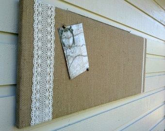 Burlap and Lace Wedding Bulletin Board, Customizable display solution for photos or place cards at your Rustic Wedding or your home office