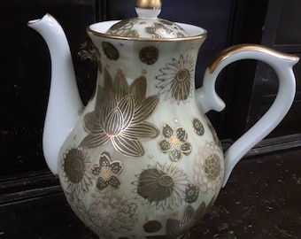 Vintage Gold Imari Coffee Pot with Celedon Gilt Lotus Flowers