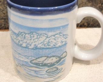 Vintage Figi Mug/ Ocean/Waves/ Sand and Sea Gulls