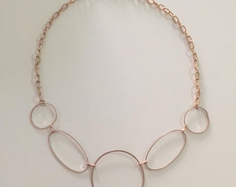 unique trendy golden five circles metal chain necklace jewelry