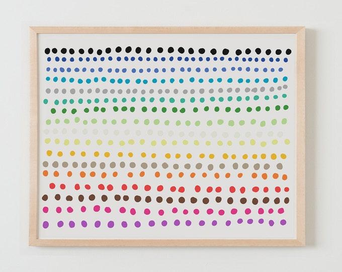 Fine Art Print.  Rainbow Polka Dots.  April 22, 2015.