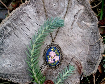 Gift|for|her Something blue necklace flower jewelry wife blue gift Embroidered necklace Floral jewelry gifts|for|women gift Nature necklace
