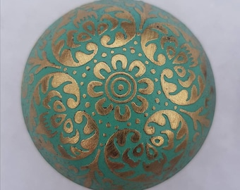 Green Brass Marrakesh Moroccan style Drawer Knob  -  Metal Upcycling Project