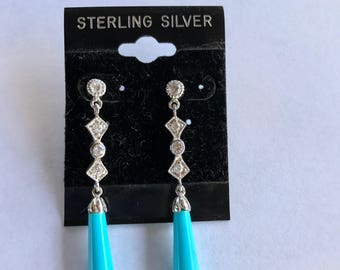 Sterling Silver CZ Dangle Pierced Earrings With Turquoise Blue Glass Teardrops New Old Stock
