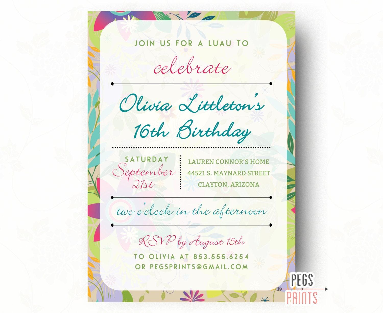 Tropical Birthday Party Invitation Sweet 16 Birthday