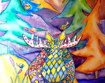 "Moose Bath watercolor 6"" x 10""  Giclee Print"