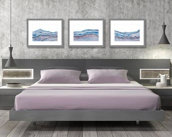 Bedroom Wall Art Set Of 3 Prints Abstract Wall Art Bedroom Wall Decor  Purple Blue Peaceful Wall Art Horizontal Wall Art Watercolor Print Set