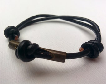 Simple Knoted Anklet, Wishes Amulet, Leather and Brass Anklet, Men's bracelet