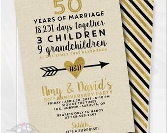 Golden Wedding Anniversary Invitation, 50th Anniversary Invitation, Fiftieth Wedding Invite, Birthday Invite, Printable Digital File #4001