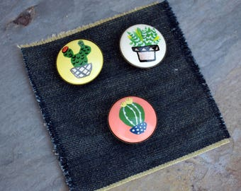 Hand-Painted Plants Wood Brooch Pin Trio Set