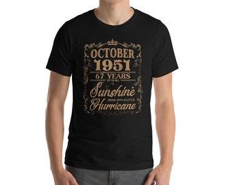 October 1951 67 Years of Being Sunshine Hurricane T-Shirt