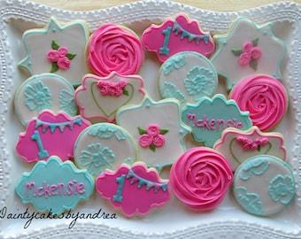 1 dozen Shabby Chic inspired birthday cookies!