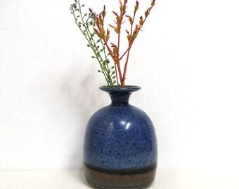 Cute Handmade Weed Pot in Speckled Blue, Brown/ Wheel Thrown Studio Pottery Vase
