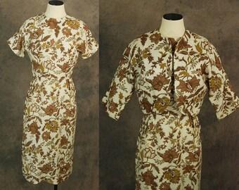 vintage 60s Wiggle Dress and Bolero Jacket -  1960s Linen Dress Brown Floral Barkcloth Suit Sz S