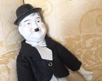 Oliver Hardy Doll - Vintage Doll - Porcelain Doll - Antique Doll Clothes