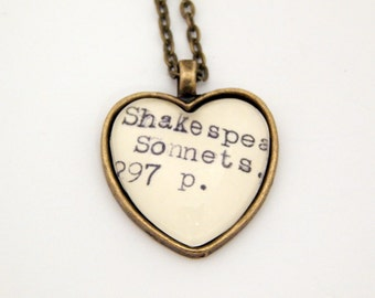 Library book jewelry, Shakespeare necklace, Shakespeare sonnets jewellery, poetry jewelry, teacher gifts, book jewelry, mothers day gift