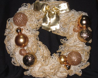 Sparkling Gold Christmas Wreath, Holiday Wreath, Door Hanger, Wall Hanging, Ruffled Yarn, Gold Ornaments, Gold Bow, Decoration, Housewarming