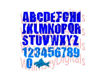 Shark Bite Alphabet SVG,  Shark Week Bitten ABC's, Digital Download Cut File, DIY Birthday Tshirt, Vinyl Cutting Design, Complete Alphabet