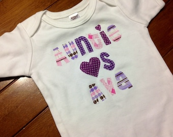 Girls I Heart Shirt - Custom Name/Size/Shirt Color/Sleeve Length, 0-3 mo to 12 yrs, Mommy, Daddy, Grandma, Grandpa, Papa, Nana, Aunt, Uncle