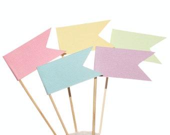 Pastel Flag Cupcake Toppers / Appetizer Picks / Food Picks / Easter Party Decor / Spring Decor
