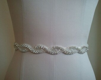 SALE - Wedding Belt, Bridal Belt, Bridesmaid Belt, Bridesmaid Belt, Crystal Rhinestone - Style B1108
