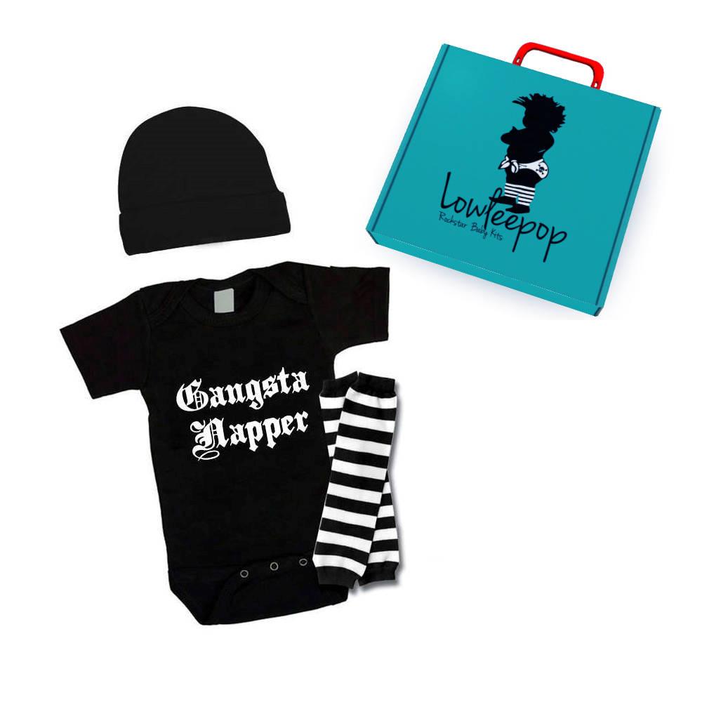 184f0d9608f ... hot rockstar baby kit gangsta napper onesie hat leg warmers 9fa22 7789f
